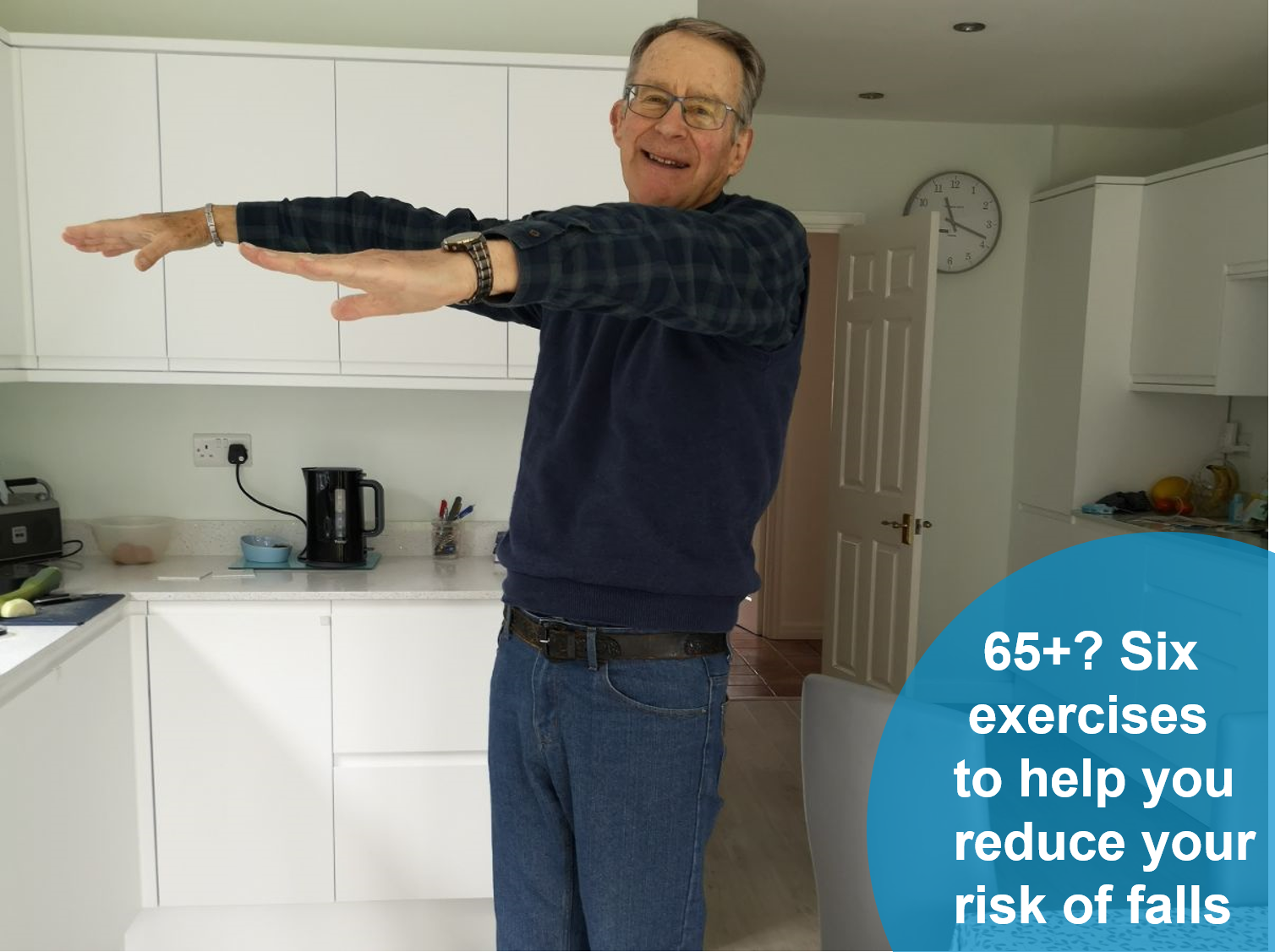 older man doing workout in kitchen plus link to 65+ balance P D F